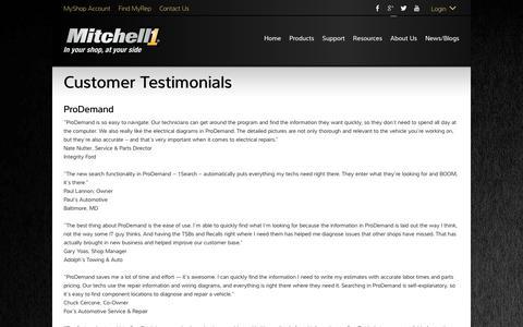 Screenshot of Testimonials Page mitchell1.com - Testimonials - Mitchell 1 - captured Sept. 21, 2018