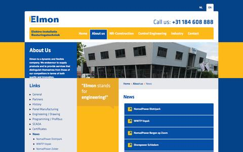 Screenshot of Press Page elmon.nl - News - captured Oct. 2, 2014
