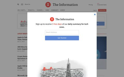 Screenshot of Home Page theinformation.com - Latest Articles — The Information - captured July 23, 2019
