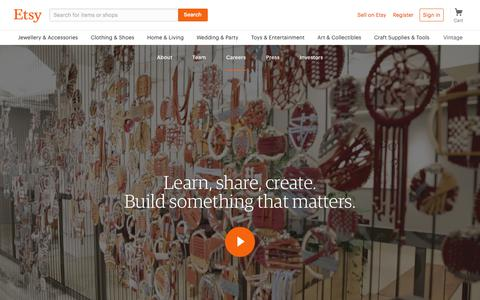 Screenshot of Jobs Page etsy.com - Careers at Etsy - captured July 1, 2018
