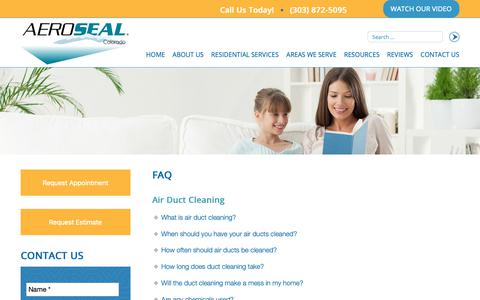 Screenshot of FAQ Page aerosealcolorado.com - Air Duct Cleaning, Aeroseal Duct Sealing, and Dryer Vent Cleaning FAQ - captured Oct. 3, 2018