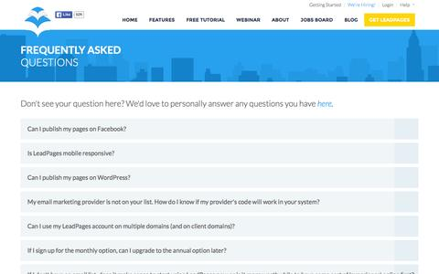 Screenshot of FAQ Page leadpages.net - FAQ - LeadPages Software - Mobile Responsive Landing Page Generator - captured May 15, 2016
