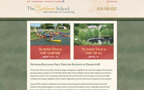 Screenshot of Home Page outdoorschool.com - Welcome to the Outdoor School - captured Oct. 6, 2014