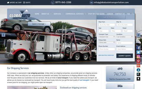 Screenshot of Services Page globalautotransportation.com - Car Shipping Services | Auto Transport | (877) 645- 2288 - captured Dec. 8, 2018