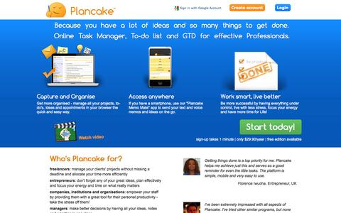 Screenshot of Home Page plancake.com - Plancake - Online project manager and todo list with GTD - captured Sept. 19, 2014