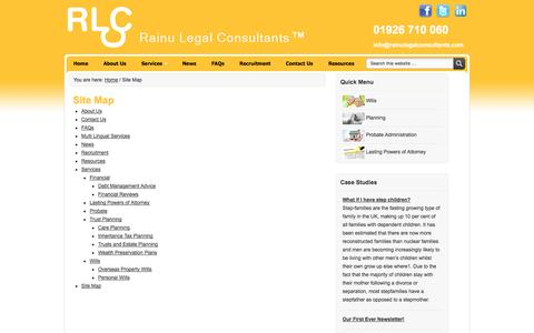 Screenshot of Site Map Page rainulegalconsultants.com - Site Map - captured Oct. 27, 2014
