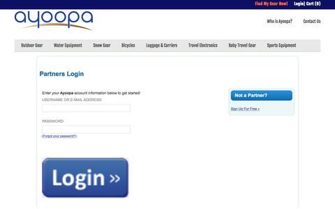 Screenshot of Login Page ayoopa.com - Partners Login | Ayoopa - captured Dec. 27, 2015