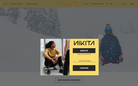 Screenshot of Home Page nikitaclothing.com - Nikita Clothing - captured Oct. 6, 2019