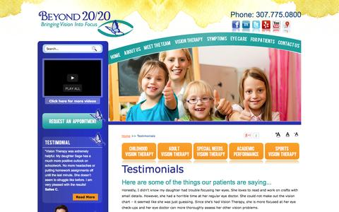 Screenshot of Testimonials Page drjacee.com - BEYOND 20/20 Testimonials - Here are some of the things our patients are saying... - captured Oct. 5, 2014