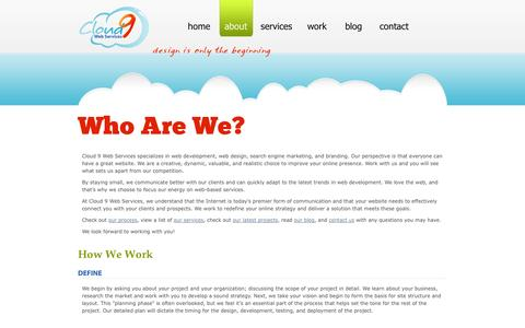 Screenshot of About Page cloud9webservices.com - About Us | Cloud 9 Web Services - captured Sept. 30, 2014