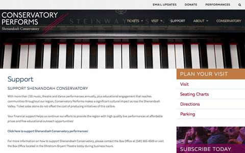 Screenshot of Support Page su.edu - Support | Conservatory Performs - captured Feb. 12, 2016