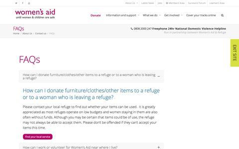 Screenshot of FAQ Page womensaid.org.uk - FAQs - Womens Aid - captured Nov. 22, 2016