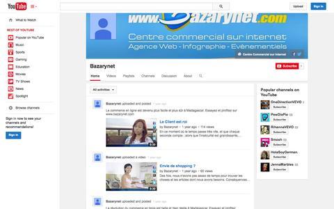 Screenshot of YouTube Page youtube.com - Bazarynet  - YouTube - captured Oct. 23, 2014