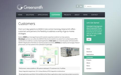Screenshot of Developers Page greensmithenergy.com - Greensmith Energy Management Systems Energy Storage - Customers - captured Oct. 3, 2014