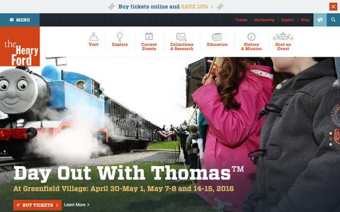 Screenshot of Home Page thehenryford.org - The Henry Ford – Museum, Greenfield Village & Rouge Factory - captured April 16, 2016