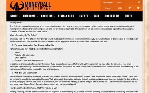 Screenshot of Privacy Page moneyballsportswear.com - Privacy Policy - Moneyball Sportswear - captured June 19, 2017