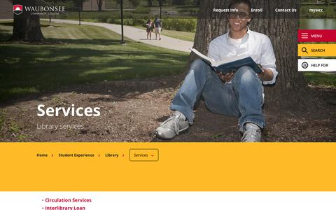 Screenshot of Services Page waubonsee.edu - Services | Waubonsee Community College - captured Sept. 22, 2018