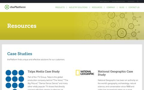 Screenshot of Case Studies Page theplatform.com - Resources | thePlatform - captured Jan. 26, 2016