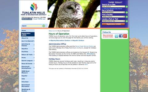 Screenshot of Hours Page thprd.org - THPRD: About Us - Hours of Operation - captured Sept. 25, 2014