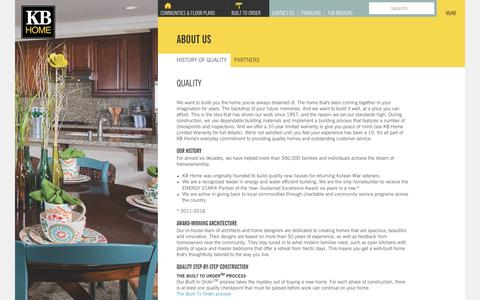 Screenshot of About Page kbhome.com - Our History of Quality | KB Home - captured March 13, 2017