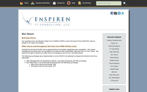 Screenshot of Hours Page enspirenconsulting.com - Our Hours – Enspiren IT Consulting, LLC - captured Oct. 5, 2014