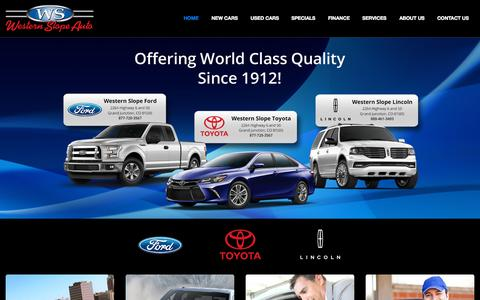 Screenshot of Home Page westernslopeauto.com - Ford Lincoln Toyota Dealership Grand Junction CO Used Cars Western Slope Auto - captured Oct. 5, 2015