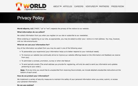 Privacy Policy – World eSports, LLC