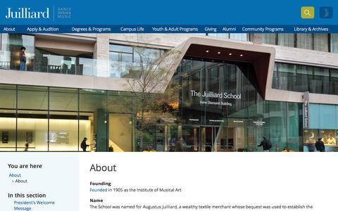 Screenshot of About Page juilliard.edu - The Juilliard School | Dance, Drama, and Music - captured Sept. 29, 2015
