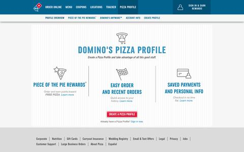 Screenshot of Login Page dominos.com - Pizza Profile Edit Details - Pizza Profile Edit Details - captured Aug. 15, 2018