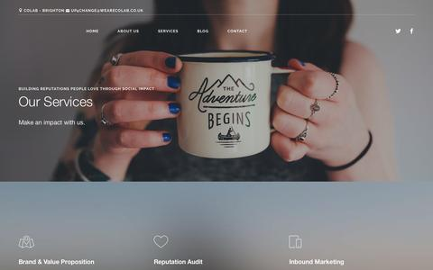Screenshot of Services Page wearecolab.co.uk - Services | colab - captured Nov. 13, 2016