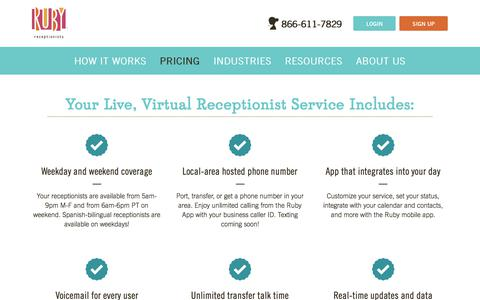 Screenshot of Pricing Page callruby.com - Virtual Answering Service Pricing Plans | Ruby Receptionists - captured July 17, 2018