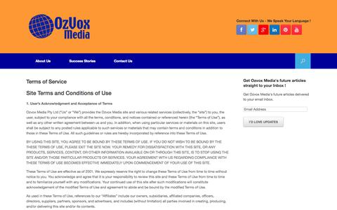 Screenshot of Terms Page ozvoxmedia.com - Terms of Service - captured Oct. 9, 2014
