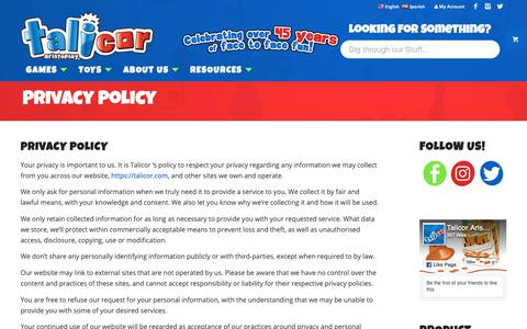Screenshot of Privacy Page talicor.com - Privacy Policy   Talicor - captured Nov. 16, 2018