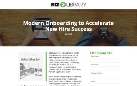Screenshot of Landing Page bizlibrary.com - Modern Onboarding to Accelerate New Hire Success [eBook] - captured Sept. 19, 2018