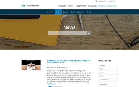 Screenshot of Press Page siteminder.com - Hospitality & Travel Industry News, Events, and Updates by SiteMinder - captured March 24, 2017