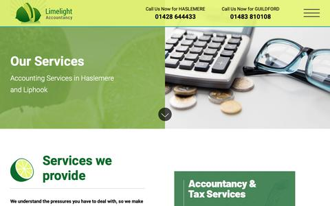 Screenshot of Services Page limelight-accountancy.co.uk - Accounting Services Surrey | Accountancy Firm in Liphook, Haslemere, Guildford - captured Sept. 28, 2018
