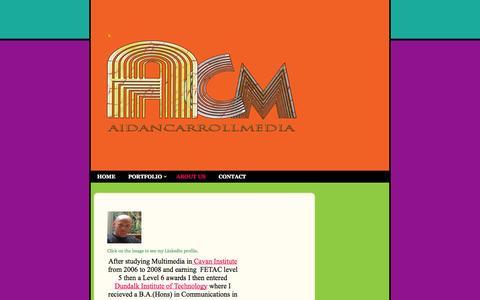 Screenshot of About Page aidancarroll.com - Aidan Carroll Media - - captured Oct. 4, 2014