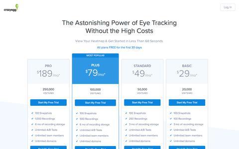 Screenshot of Pricing Page crazyegg.com - A/B Testing & Heatmaps - Crazy Egg Website Optimization Software - captured Sept. 9, 2018