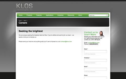 Screenshot of Jobs Page klos.com - Careers - Klos Technologies, Inc - Klos Technologies, Inc - captured Oct. 6, 2014
