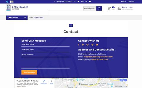 Screenshot of Contact Page darussalampublishers.com - Contact Online Islamic Store          Darussalam Publishers - captured Aug. 5, 2018