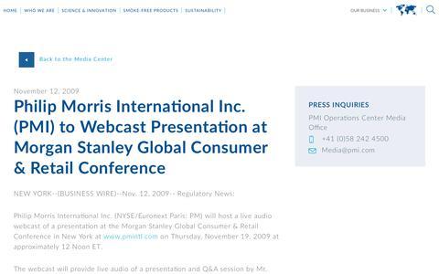 Screenshot of Press Page pmi.com - Philip Morris International Inc. (PMI) to Webcast Presentation at Morgan Stanley Global Consumer & Retail Conference - captured Nov. 1, 2018