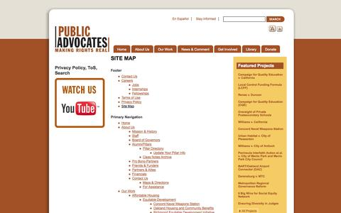 Screenshot of Site Map Page publicadvocates.org - Site Map | Public Advocates Inc. - captured Sept. 30, 2014