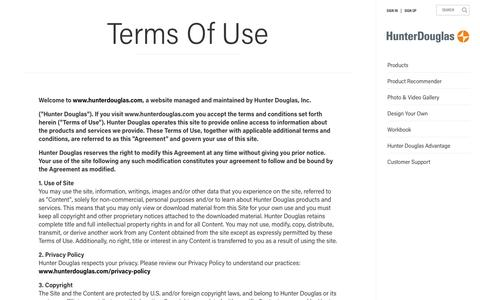 Terms of Use  | Hunter Douglas