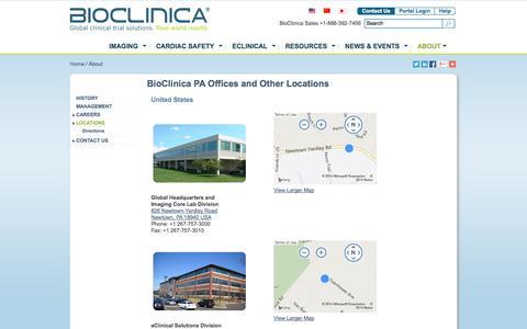 Screenshot of Locations Page bioclinica.com - BioClinica PA Offices and Other Office Locations - captured Oct. 10, 2014