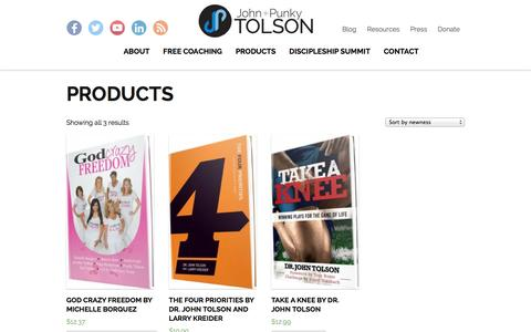 Screenshot of Products Page johnandpunkytolson.com - Products Archive | John and Punky Tolson - captured Sept. 30, 2014