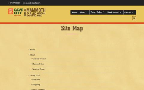 Screenshot of Site Map Page cavecity.com - Site Map – Cave City Home of Mammoth Cave National Park - captured July 18, 2017