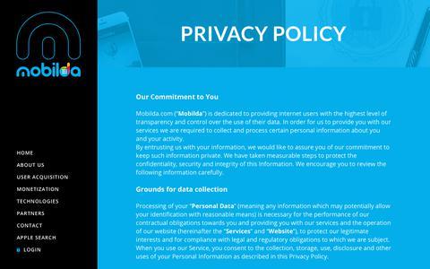 Screenshot of Privacy Page mobilda.com - Privacy Policy – Mobilda - captured Nov. 15, 2018