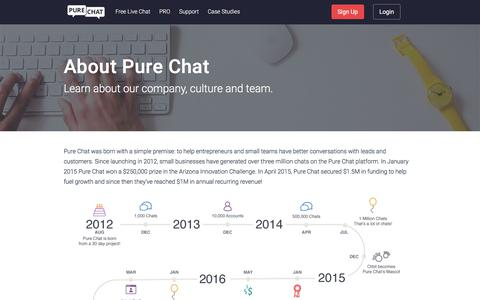 Screenshot of About Page purechat.com - Learn About Pure Chat - captured March 30, 2018