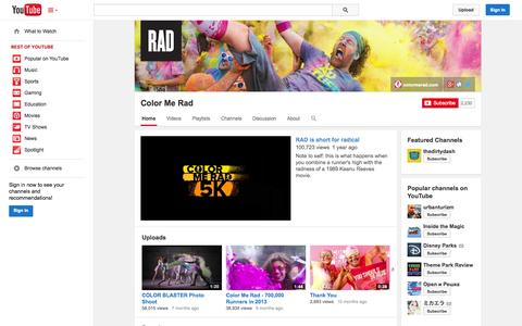 Screenshot of YouTube Page youtube.com - Color Me Rad  - YouTube - captured Oct. 23, 2014