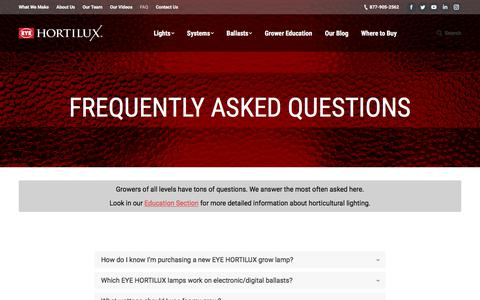 Screenshot of FAQ Page eyehortilux.com - Frequently Asked Questions   EYE Hortilux - captured July 15, 2018